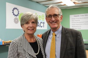 Impact NW Executive Director, Susan Stoltenberg, and Portland Mayor Charlie Hales, attend the Make@Impact reveal