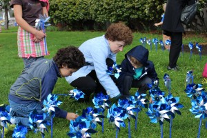 PPS Vestal School Elementary children plant a pinwheel garden outside the school. Pinwheels for Prevention is a national campaign by Prevent Child Abuse America and aims to celebrate the lives you touch and those who have touched yours by honoring them with a pinwheel.
