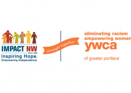 Impact NW y YWCA - Logotipo de Stronger Together