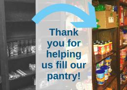 Cảm ơn bạn đã giúp chúng tôi điền vào phòng đựng thức ăn của chúng tôi!