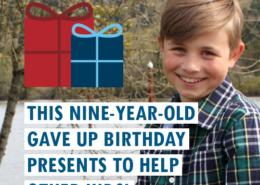 Bé 9 tuổi này đã tặng quà sinh nhật để giúp đỡ những đứa trẻ khác