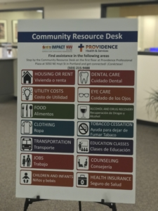 Poster for Providence community resource desk