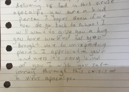 A thank you letter from a student