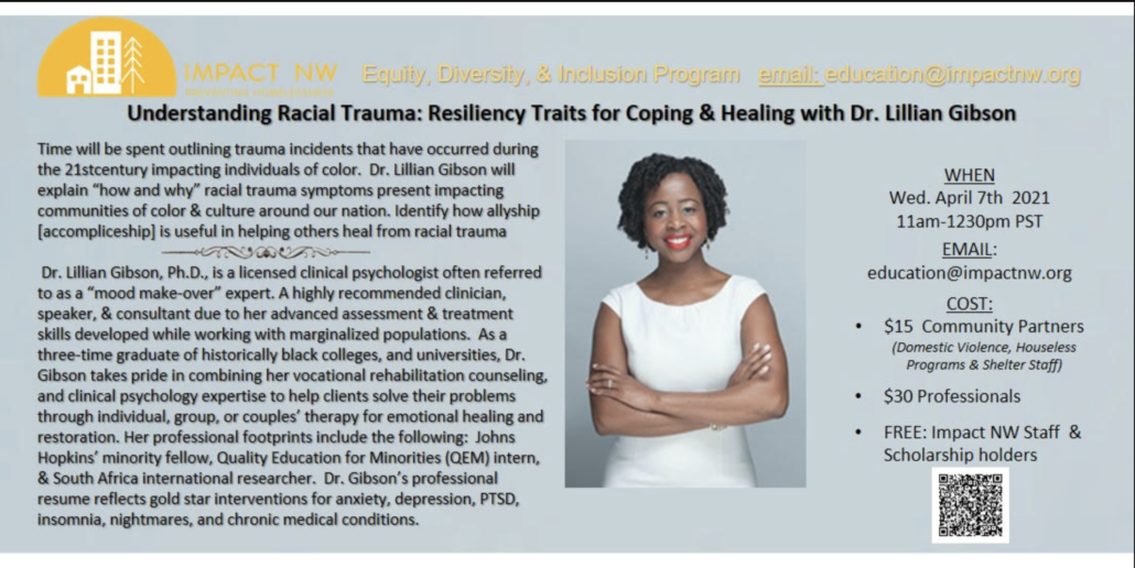 Understanding Racial Trauma: Resiliency Traits for Coping & Healing with Dr. Lillian Gibson